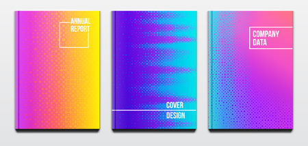 Corporate booklet covers or annual reports and presentation books with blurred futuristic design and hard cover Illustration