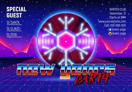 New Years party invitation poster or flyer with vinyl lp for dj and retro 80s neon styled landscape with chrome lettering