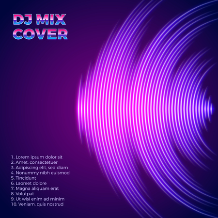 DJ mix neon cover with 80s styel and music waveform as a vinyl grooves Illustration