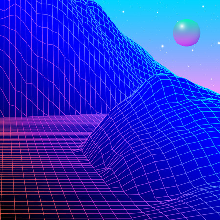 Landscape with wireframe grid of 80s styled retro computer game or science inspired background 3d structure with crystal sphere and mountains or hills Illustration