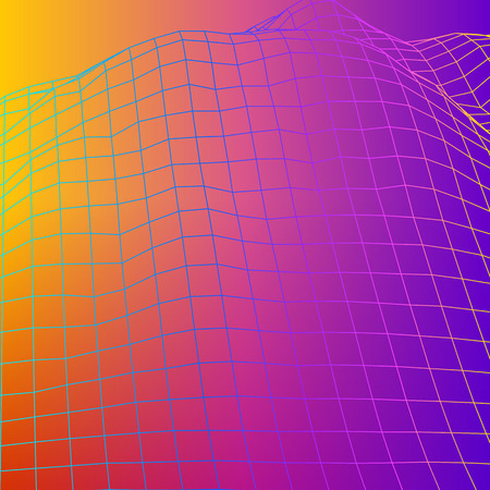 Colorful wireframe grid of 80s styled retro computer game or science inspired background 3d structure with mountains or hills