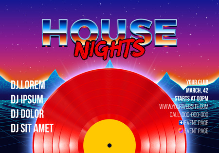 Vinyl party poster 80s style with arcade styled retro background and red LP for House rave club nights. Advertising blue and purple leaflet or flyer with modern electronic music dance party