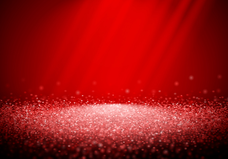 Red glitter retro background with abstract shiny light rays in the darkness of red backdrop