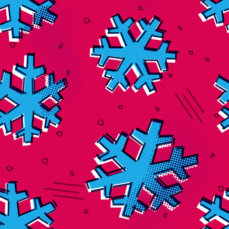 Christmas seamless snowflakes pattern with memphis design print styled snow stars for holiday ornaments, corporate greeting prints and xmas greeting cards
