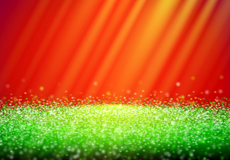 Green glitter retro background with abstract shiny light rays in the darkness of red backdrop