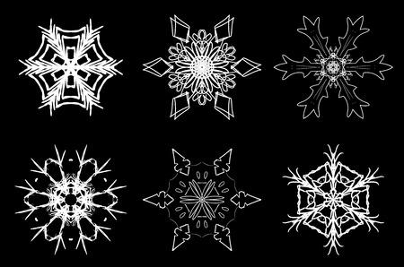 Christmas set of hand drawn beautiful filigree snowflakes for winter snow mood on your card Ilustração