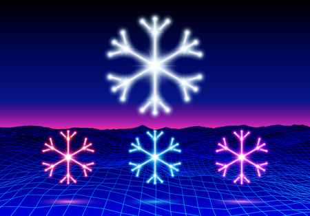 Christmas neon snowflake icon or element for 80s styled party or retro discount flyer Illustration