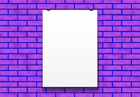 Blank poster mockup on the paper clips in front of purple club brick wall in bright loft room