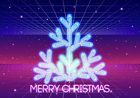Christmas card with neon Christmas tree and 80s styled retro computer background