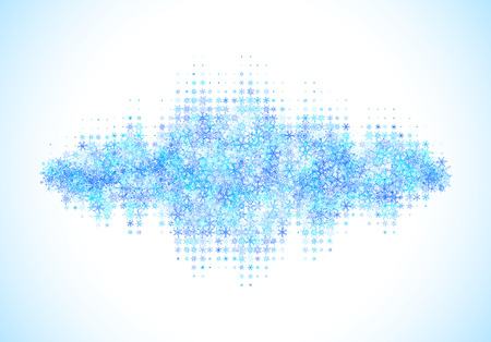 Christmas sound and music waveform made of different scattered snowflakes Illustration