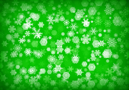 Christmas background or card with hand drawn snowflakes falling for invitation or xmas holiday greetings Illustration