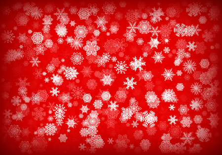 Christmas background or card with hand drawn snowflakes falling for invitation or xmas holiday greetings