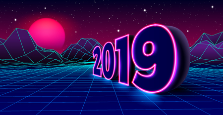 2019 neon sign for New Years Eve celebration with 80s styled arcade game grid landscape and purple sun