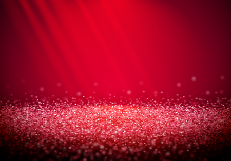 Pink glitter retro background with abstract shiny light rays in the darkness of red backdrop