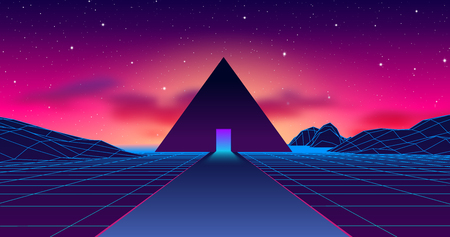 Ancient mysterious pyramid in 80s styled neon landscape with purple sky and blue mountains in retrowave, synthwave style vibrant graphics