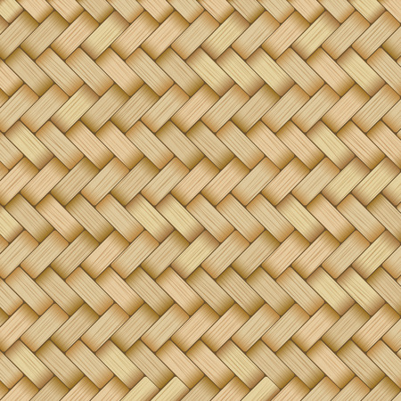 Reed mat with woven texture of crosshatched yellow or brown straws