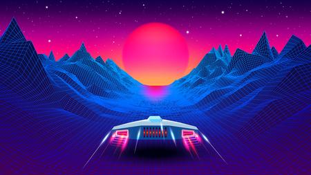 Arcaderuimteschip dat naar de zon vliegt in blauwe gang of canyonlandschap met 3D-bergen, synthwave- of retrowave-illustratie uit de jaren 80
