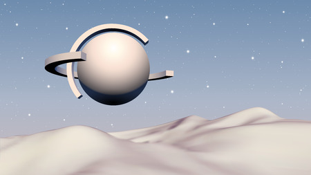 Abstract vaporwave background with solid ball and orbits flying over mountain landscape on sci-fi planet