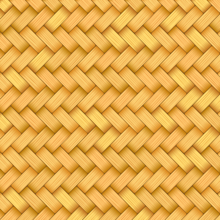 Reed mat with woven texture of crosshatched yellow or brown straws 向量圖像