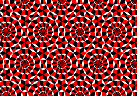 Abstract hypnotic and psychedelic background with cubes in rounds and imaginary rotation effect 向量圖像