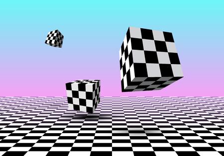 Cubi in bianco e nero che sorvolano il pavimento a scacchi con sfondo sfumato rosa e blu in stile vaporwave