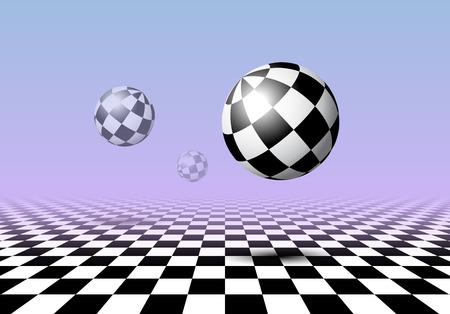 Bolas blancas y negras volando sobre un piso a cuadros con fondo degradado rosa y azul en estilo vaporwave