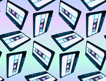 Compact cassette seamless pattern with floating or flying 80s styled vaporwave tape in perspective view