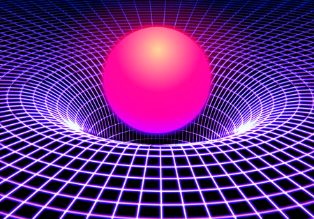 Black hole or gravity grid with glowing ball or sun in 80s synthwave and retrowave style