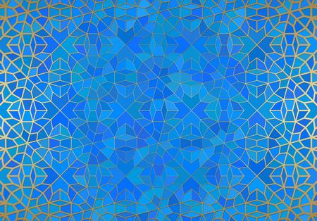 Abstrakter Hintergrund mit islamischer Verzierung, arabische geometrische Beschaffenheit. Goldenes gezeichnetes mit Ziegeln gedecktes Motiv über farbigem Hintergrund mit Buntglasart.