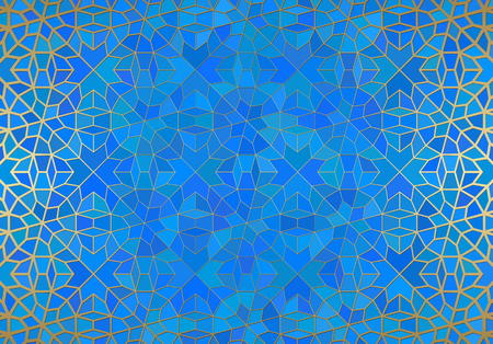 Fondo abstracto con ornamento islámico, textura geométrica árabe. Motivo de azulejos forrados de oro sobre fondo de color con estilo de vidrieras.