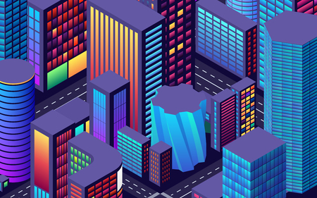 Background with city view with isometric perspective and vibrant shiny neon colors Illustration