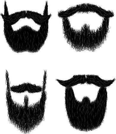 Set of hairy curly hipster beard drawings for No Shave November