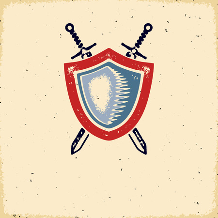Vintage letterpress styled label with shield and crossed swords