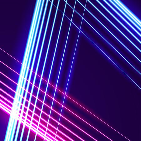 Fondo de líneas de neón brillante con estilo de los años 80 y letras cromadas