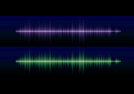Blue and green stereo sound or music waveform