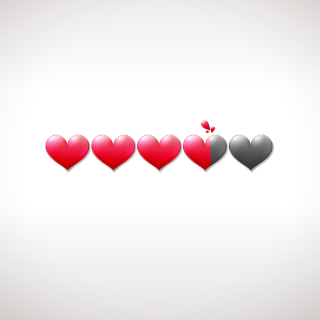 Valentine's Day status bar with vibrant hearts