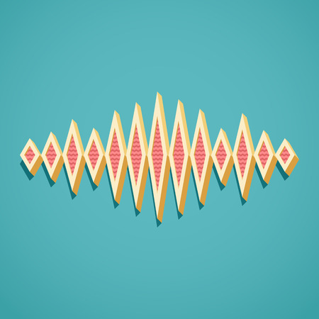 Retro card with 3D sound waveform and shadow