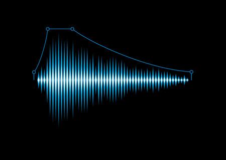 Blue shiny sound waveform with envelope curve