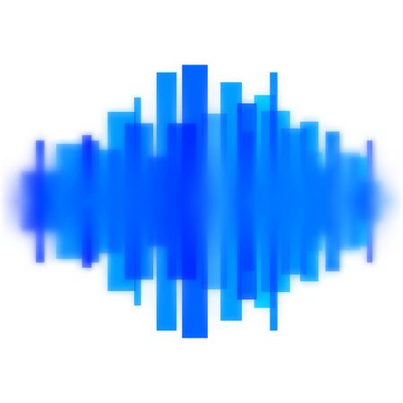Blurred vector waveform made of transparent blue lines