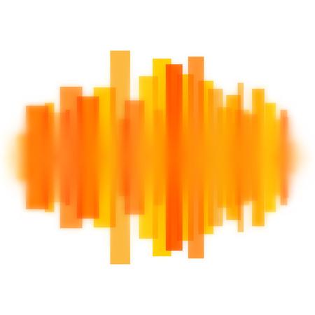 Blurred vector waveform made of transparent orange lines