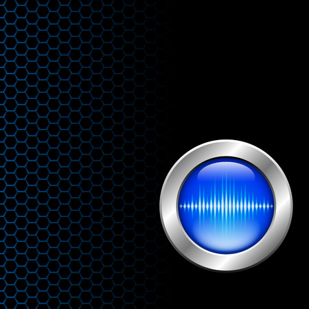Silver button with blue sound wave sign on hex grid Standard-Bild - 121647638