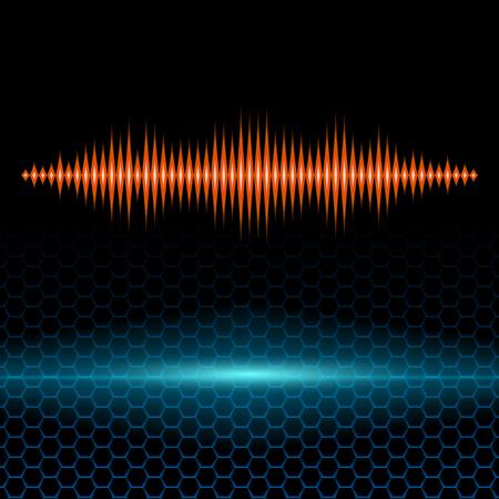 Orange shiny sound waveform with sharp peaks on hex grid