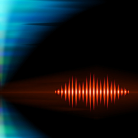 Orange shiny sound waveform with sharp peaks on polar lights background