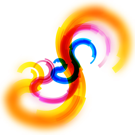 Vector card with yellow, red and blue spirals of lines with blurred edge
