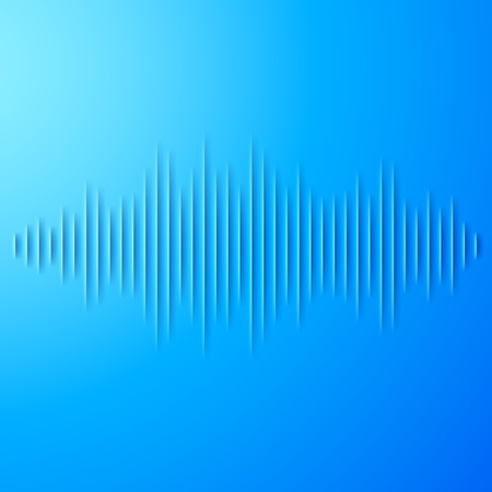 Paper cut blue sound waveform sign with shadow