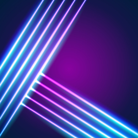 Bright neon lines background with 80s style and chrome letters