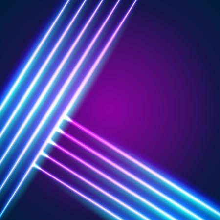 Fond de lignes lumineuses au néon avec style des années 80 et lettres chromées