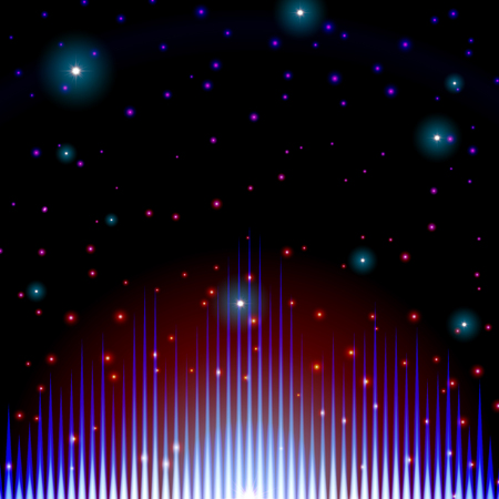 Mystic shiny sound sign with sparkles in galaxy