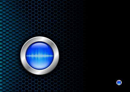 Silver button with blue sound wave sign for poster or booklet Stockfoto