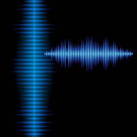Blue shiny sound waveform background with sharp peaks
